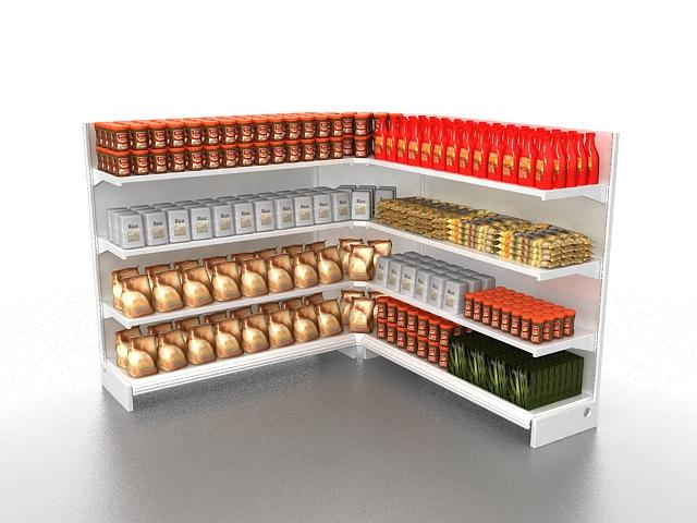 Grocery store display fixtures 3d rendering