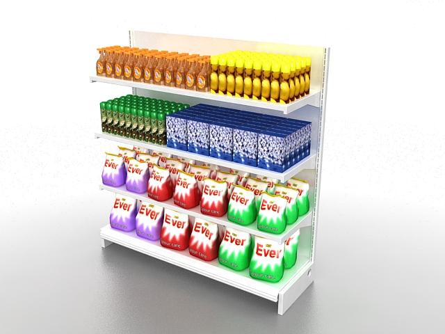 Grocery store fixtures 3d rendering