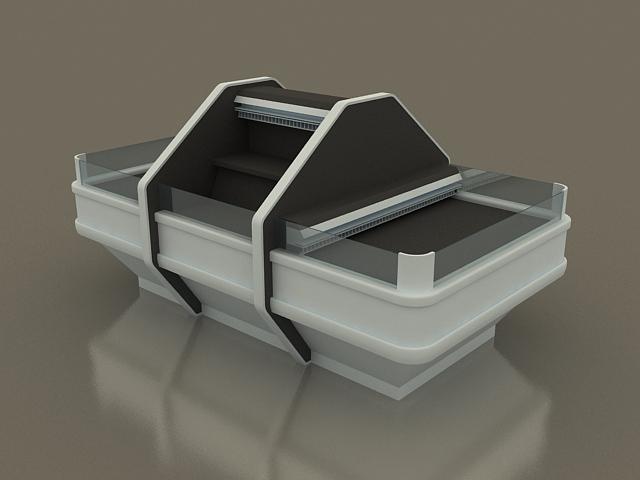 Fresh fish display case 3d rendering