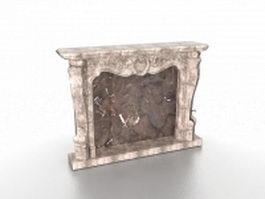 Antique stone fireplace mantels 3d model preview