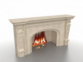 Granite fireplace 3d model preview