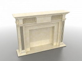 French stone fireplace mantel 3d model preview