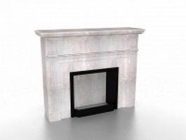 Vintage limestone fireplace 3d model preview