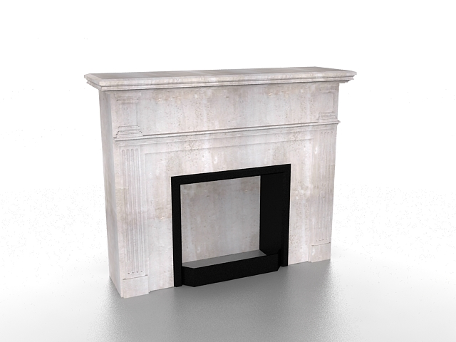 Vintage limestone fireplace 3d rendering