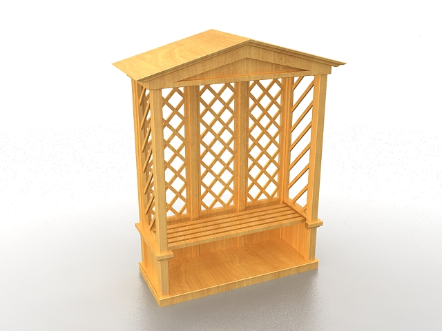 Arbor trellis with seat bench 3d rendering