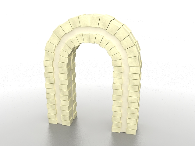 Brick garden arch 3d rendering