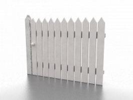 White garden fencing 3d preview