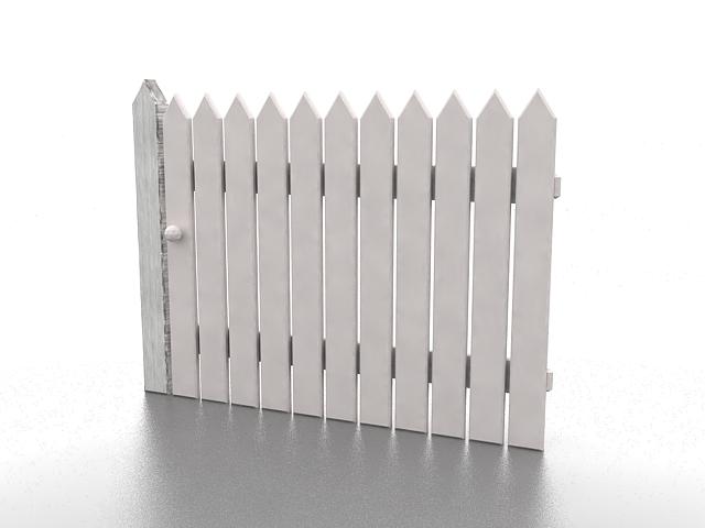 White garden fencing 3d rendering