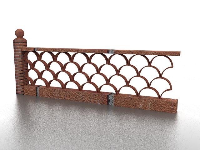 Brick garden fence 3d rendering