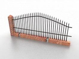 Wrought iron garden fence 3d model preview