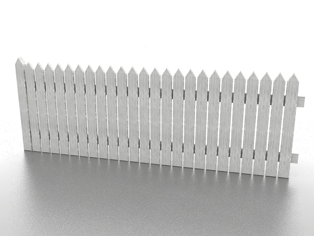 White picket fence 3d rendering