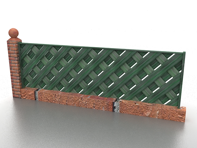 Green wood fence 3d rendering