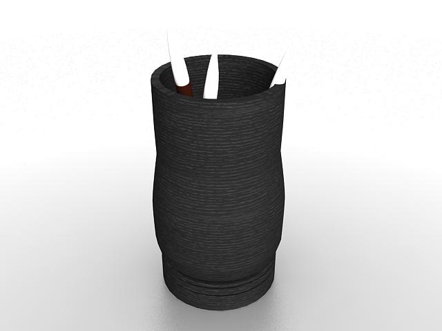 Black pen holder 3d rendering