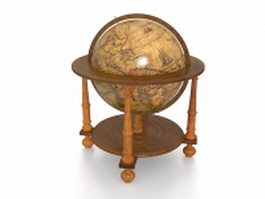 Vintage world globe 3d preview