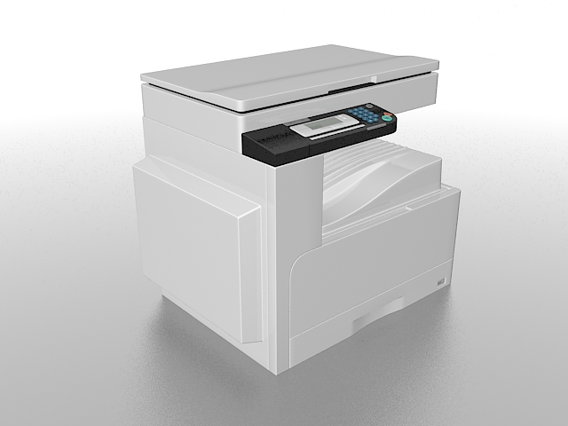 Small office copier 3d rendering