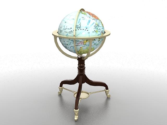 Antique world globe 3d rendering