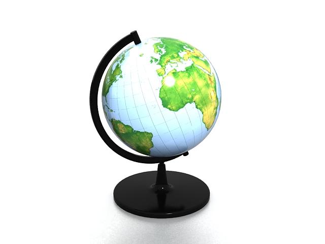 Desk world globe 3d rendering