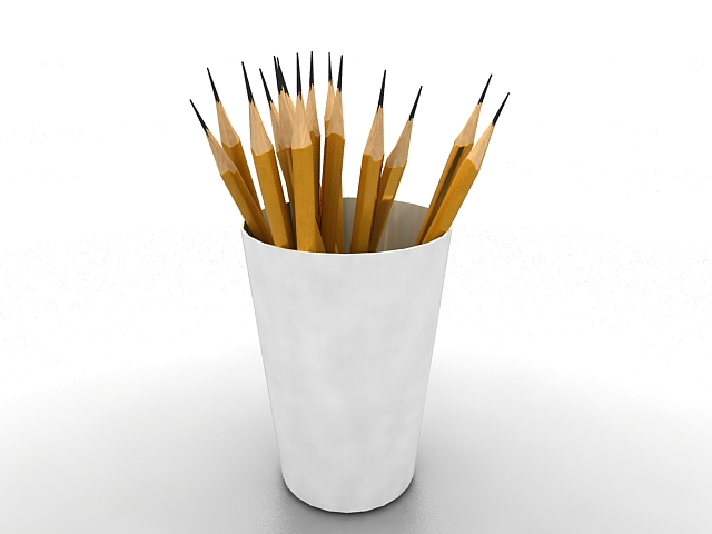 Pen pencil holder 3d rendering