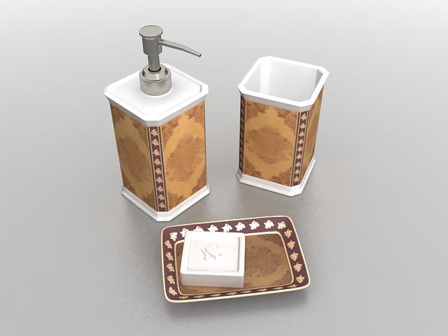 Luxury bathroom accessories sets 3d rendering