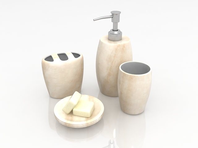 Beige marble bathroom accessory sets 3d rendering
