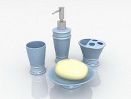Blue resin bathroom sets and accessories 3d preview