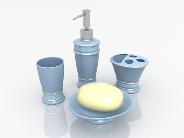 Blue resin bathroom sets and accessories 3d rendering