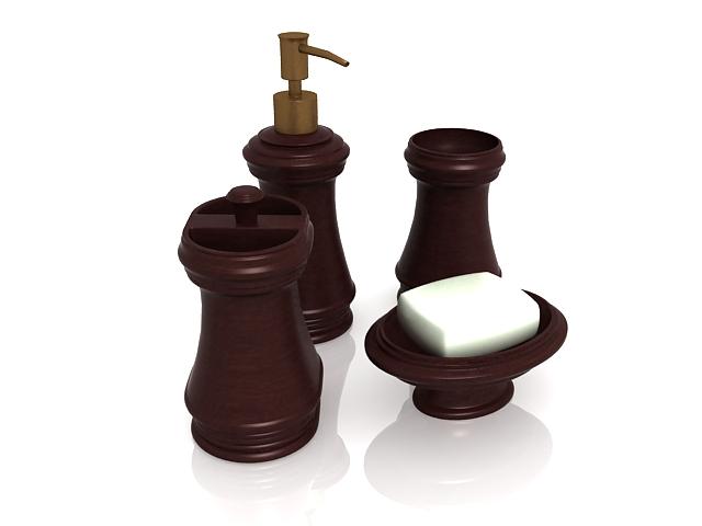 Dark wood bathroom accessories sets 3d rendering
