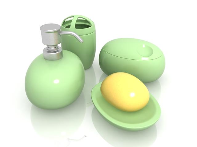 Green bathroom sets 3d rendering