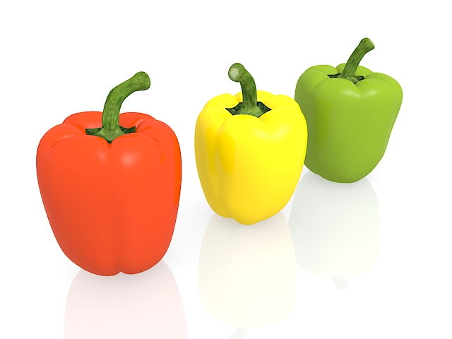 Capsicum sweet peppers 3d rendering