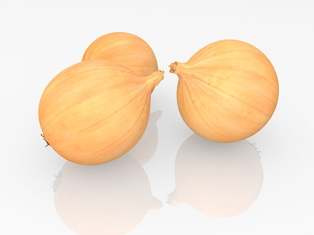 Yellow onions 3d rendering