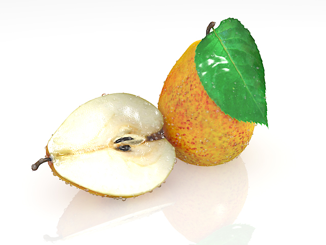 Pear fruit with cross section 3d rendering