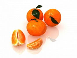 Navel orange fruit with peeled and sectioned 3d preview