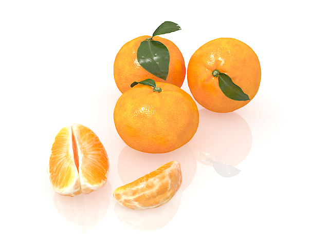 Navel orange fruit with peeled and sectioned 3d rendering