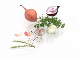 Onions and garlics clove 3d preview
