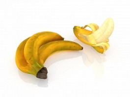 Cavendish bananas and peeled 3d model preview