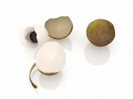 Longan fruit and peeled 3d preview