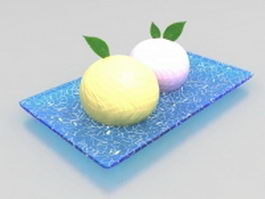 Steamed bread on plate 3d model preview