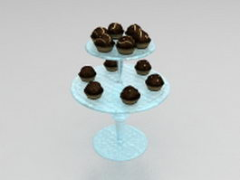 Chocolate balls on plate 3d preview