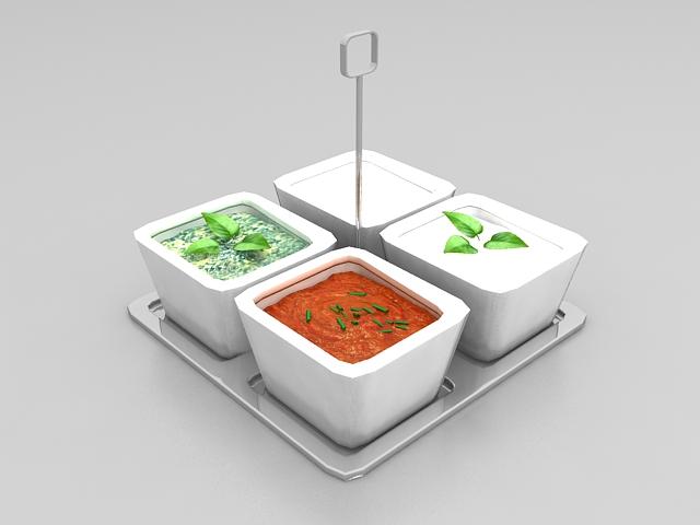 Vegetable broth soup 3d rendering