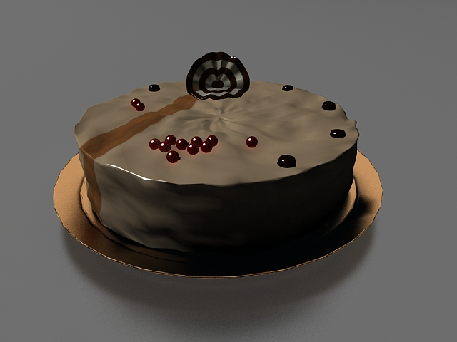 Chocolate cake with decoration 3d rendering
