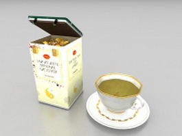 Tea box and cup 3d preview