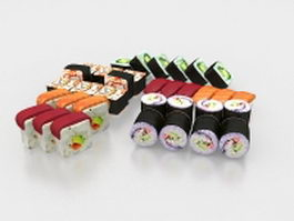 Various sushi 3d preview