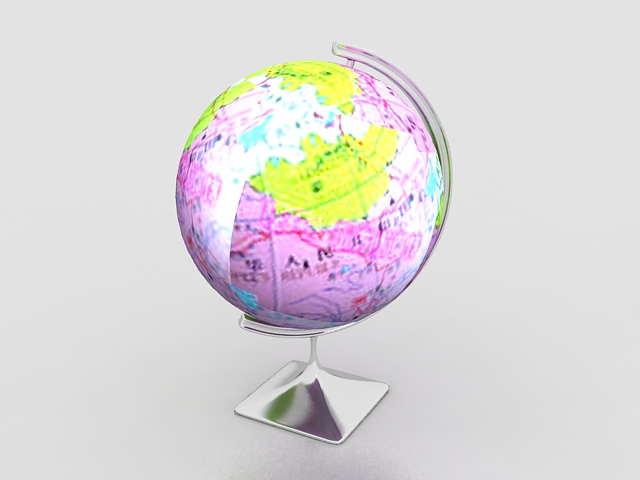 Desktop world globe 3d rendering