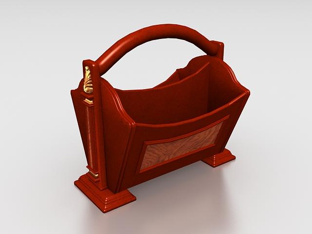 Vintage wooden desktop organizer 3d rendering