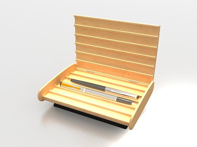 Wooden pen holder box 3d rendering