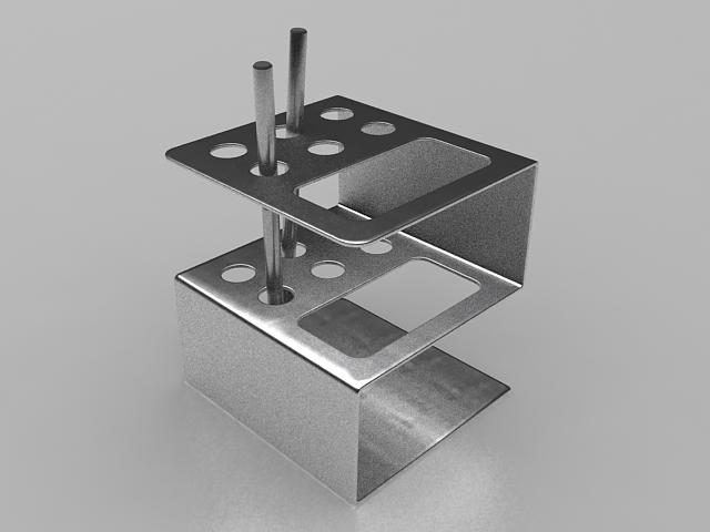 Stainless steel pen holder 3d rendering