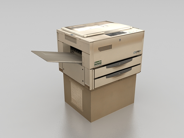 Old copier machine 3d rendering