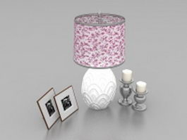 Table lamp with candlesticks and photographs 3d preview