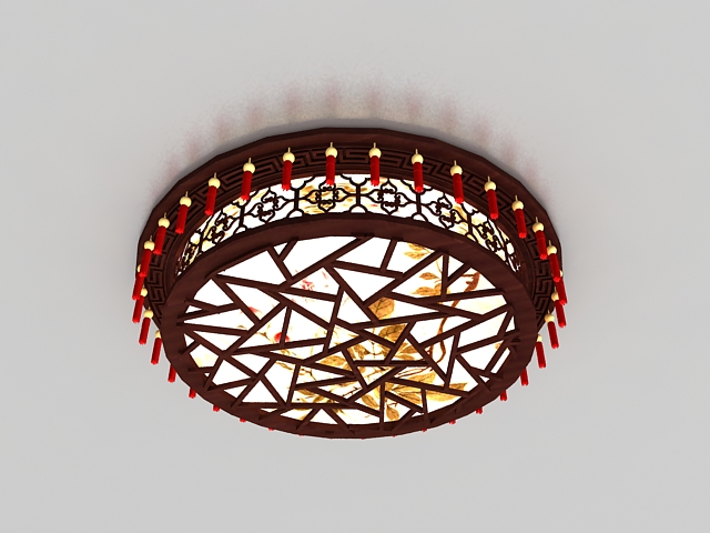 Antique Chinese ceiling lights 3d rendering