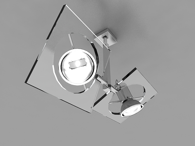 Ceiling spotlight with glass 3d rendering